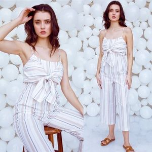 Pants - Ivory Knotted Stripe Jumpsuit